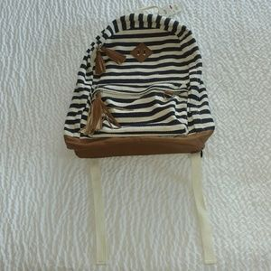 White and Dark Blue Stripes Mudd Backpack